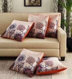 Beige Velvet Digital Print Set Of 5 Cushion Covers