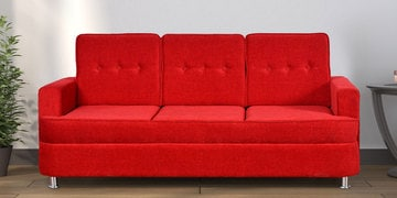 Beniza Three Seater Sofa In Red Colour By Cloud 9