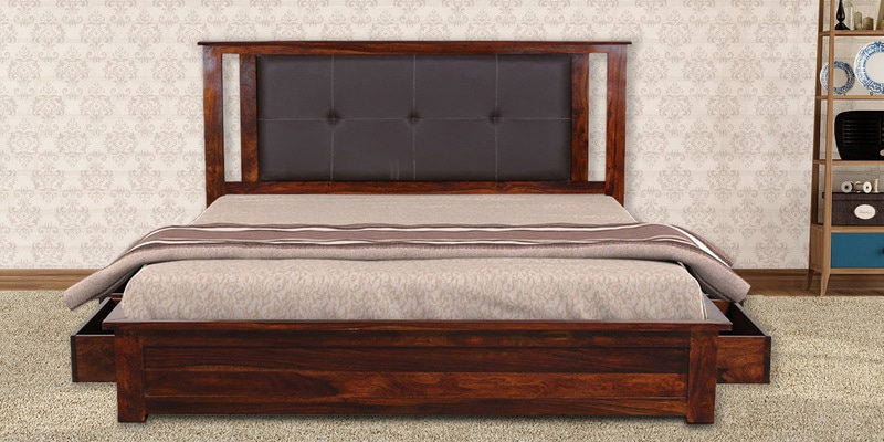 Rosholt King Size Bed with Storage in Provincial Teak Finish by Woodsworth