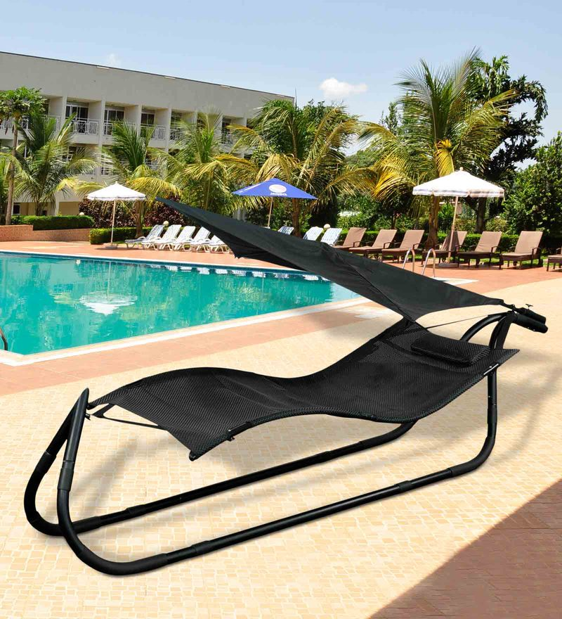 Beach Hammock with Black Upholstery by Royal Oak