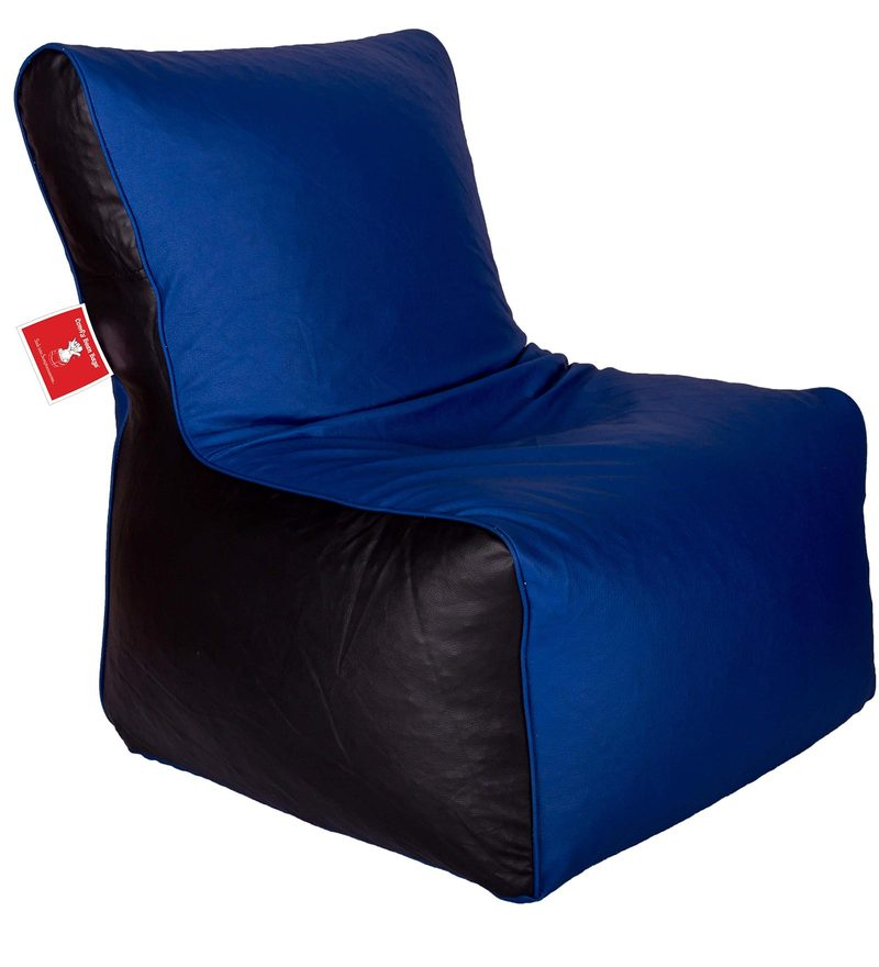 Bean Bag Chair Cover in Black & Blue Colour by Comfy Bean Bags