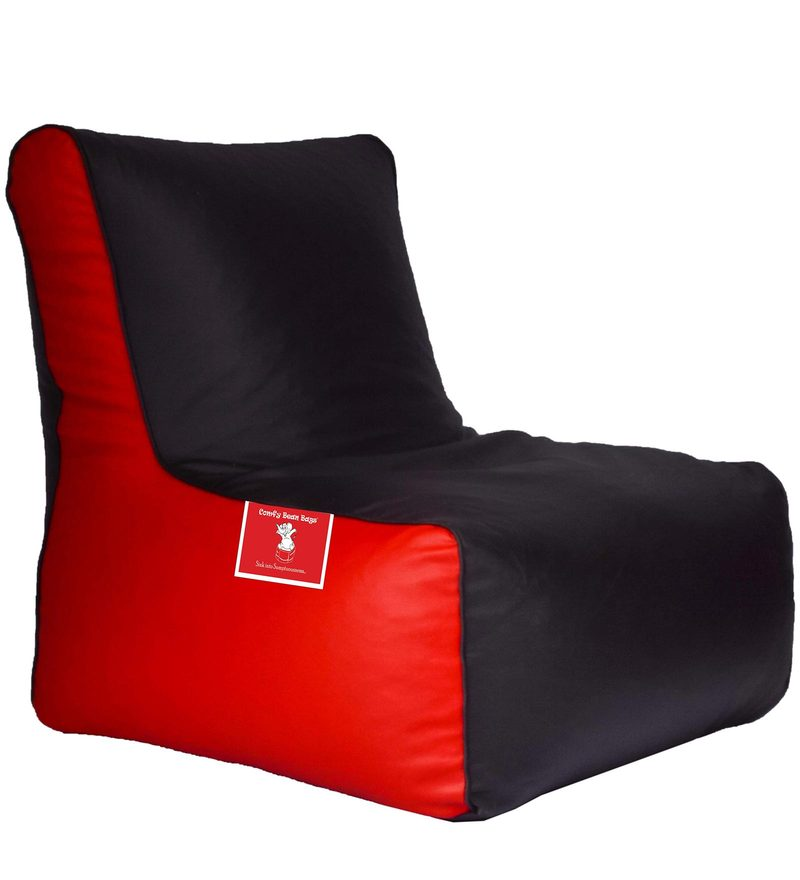 Bean Bag Chair Cover in Black & Red Colour by Comfy Bean Bags