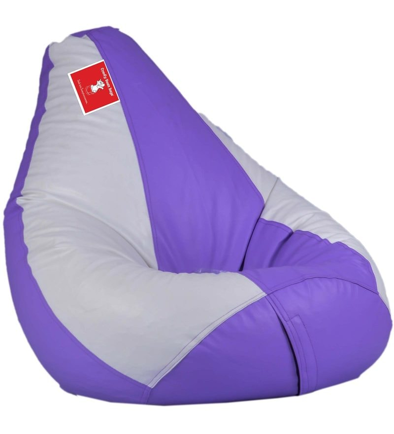Bean Bag with Beans in Lavender & White Colour by Comfy Bean Bags