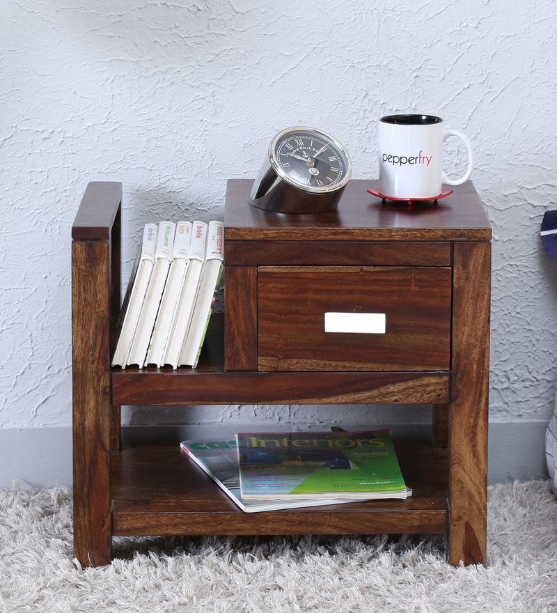 Oriel Bed Side Table with Book Shelf in Provincial Teak Finish by Woodsworth