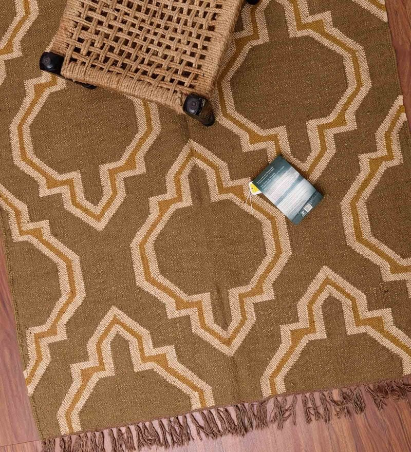 Beige and Brown Jute 71 x 50 Inch Area Rug by Carpet Overseas