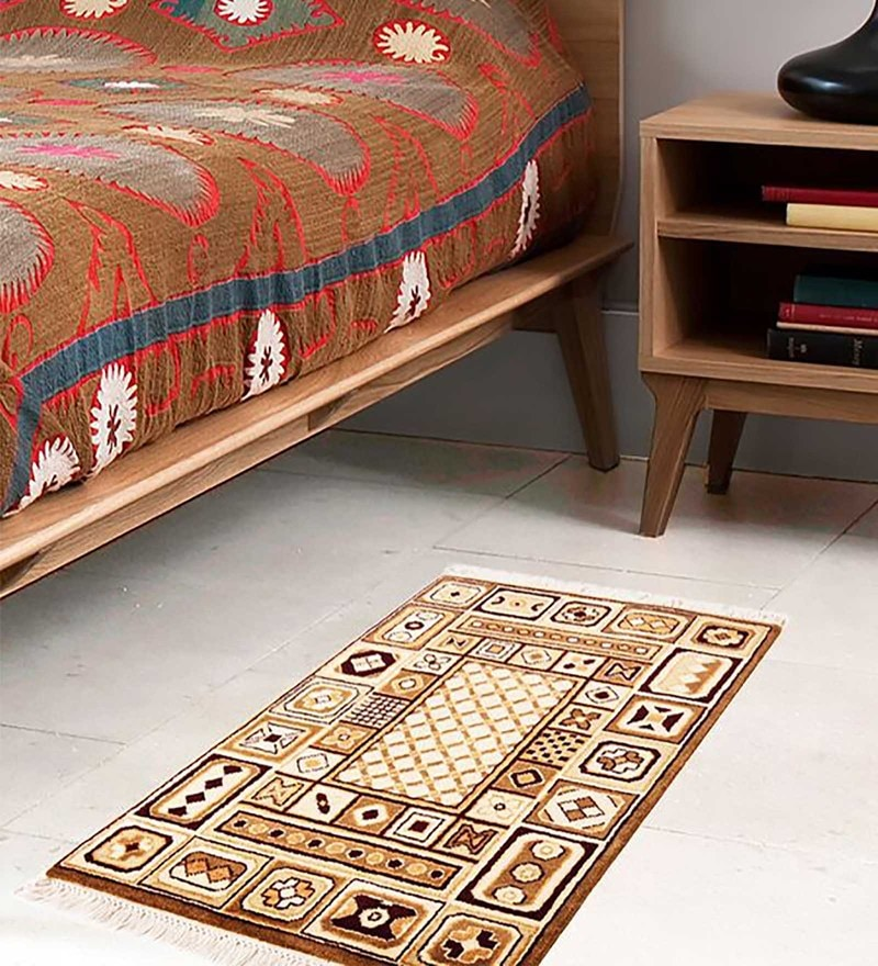 Beige and Brown Woolen 23 x 37 Inch Area Rug by Carpet Overseas
