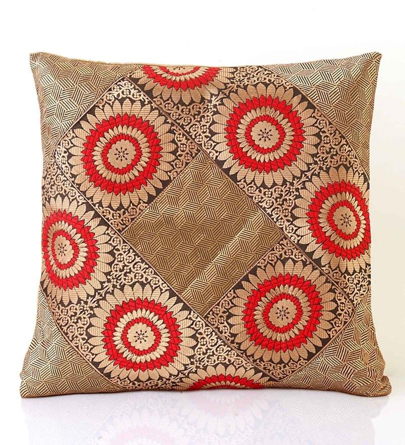 Beige Brocade Cushion Cover by Jodhaa