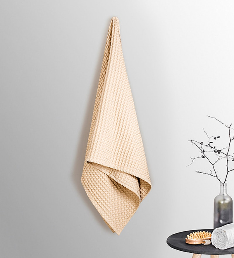 Beige Cotton 30 x 60 Inch Bath Towel by Vista Home Fashion