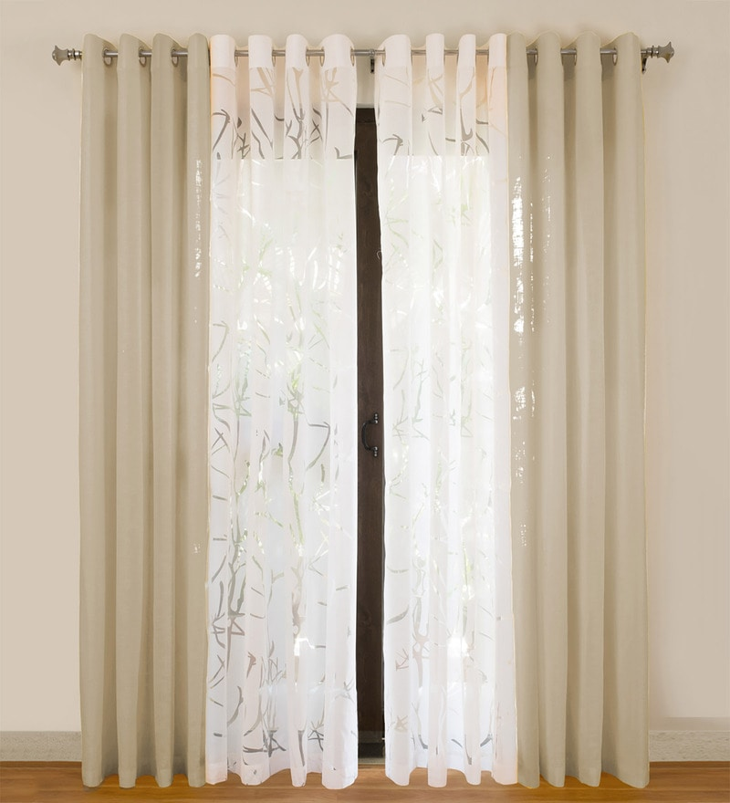 Beige Cotton 55x84 Inch Door Curtains - Set of 4 by Rosara