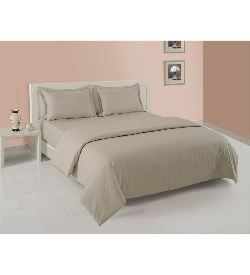 Beige Cotton King Size Bedding Set - Set of 4 by Swayam