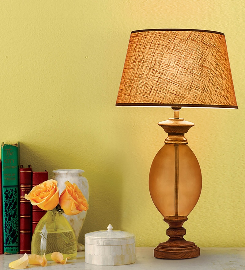 Beige Cotton Table Lamp by Kapoor E Illuminations