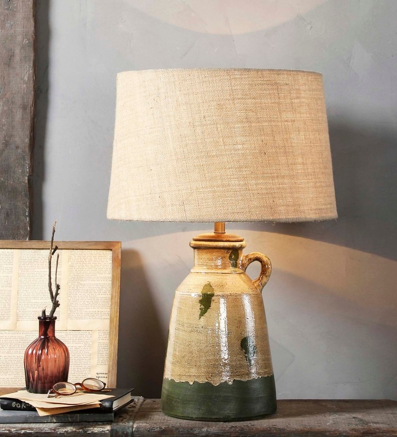 Beige Jute Estella Table Lamp by Fabuliv