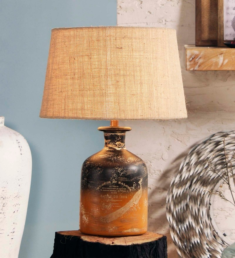 Beige Jute Leera Table Lamp by Fabuliv