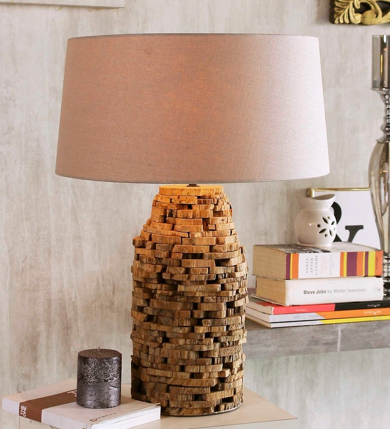Beige Linen Chamonix Table Lamp by Jainsons Emporio
