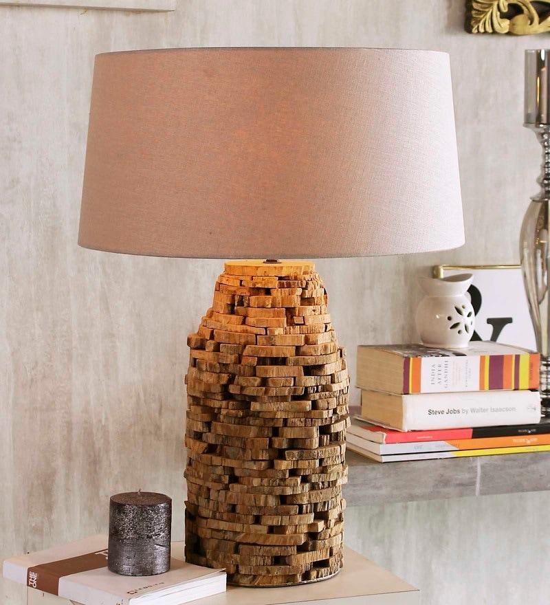 Beige Linen Chamonix Table Lamp by Jainsons Emporio