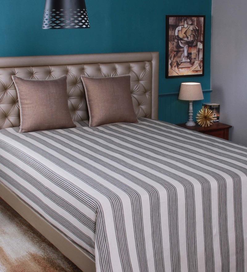 Beige Linen Queen Size Bedsheet by Milano Home