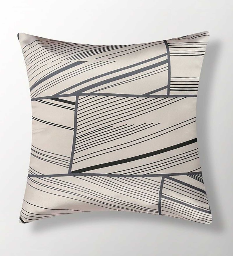 Beige Polyester 16x16 Inch Cushion Cover by Dreamscape