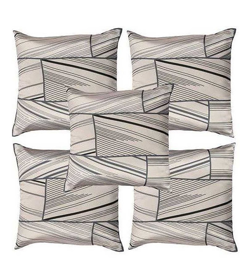 Beige Polyester 16x16 Inch Cushion Covers - Set of 5 by Dreamscape