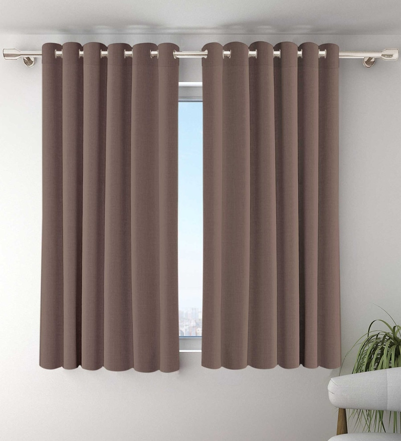 Beige Polyester Window Curtains - Set of 2 by Vista Home Fashion