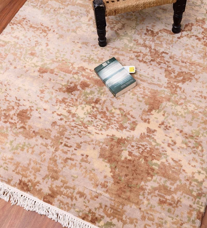 Beige Woolen 72 x 48 Inch Area Rug by Carpet Overseas
