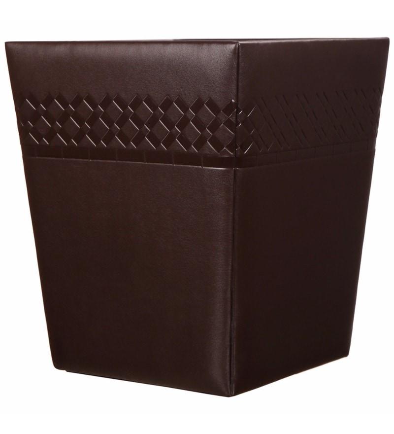 Belmun Smooth Checks Embossed Brown 11 L Medium Dustbin
