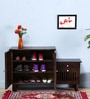 Belvidere Shoe Rack with Drawer in Warm Chestnut Finish by Woodsworth