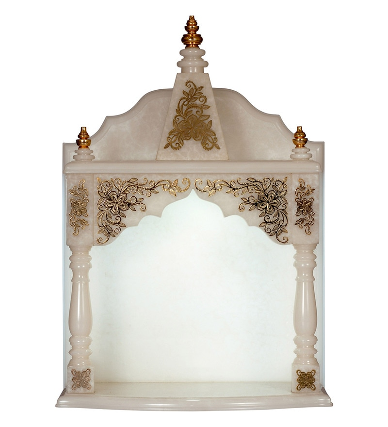 White Jade Onyx Translucent Composite with 24 K Gold Plating Temple by Bhavya Craft