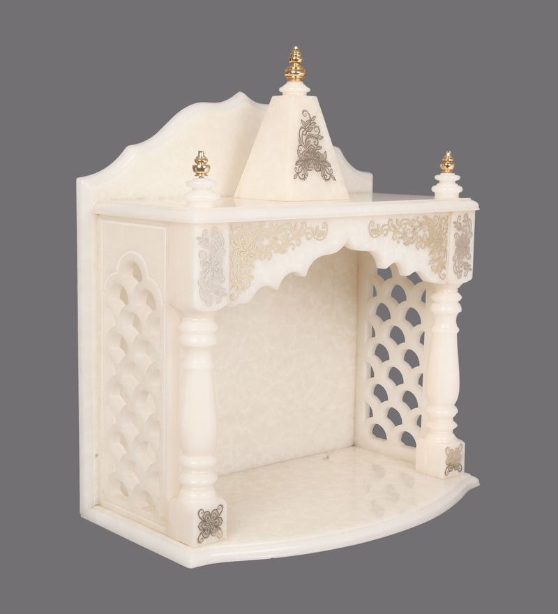 Buy Hand Made Pooja Mandir in Translucent White Marble with ...