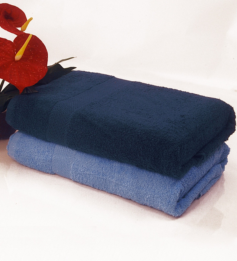 BIANCA Navy & Sky Blue 100% Terry Cotton Bath Towel - Set of 2