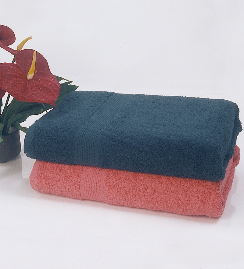 BIANCA Navy & Coral 100% Terry Cotton Bath Towel - Set of 2