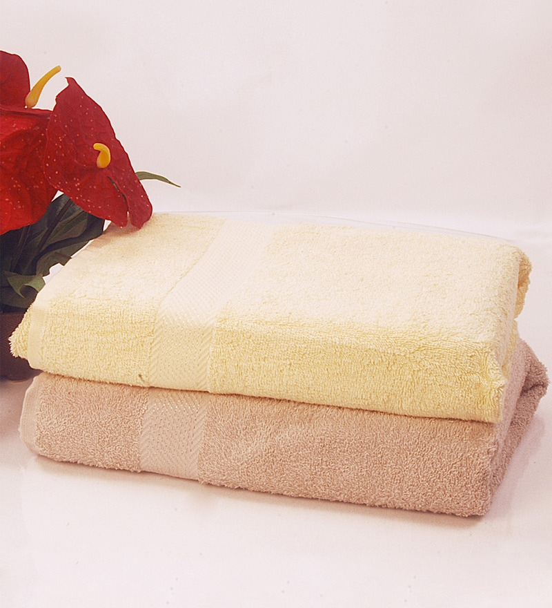 BIANCA Yellow & Antique 100% Terry Cotton Bath Towel - Set of 2
