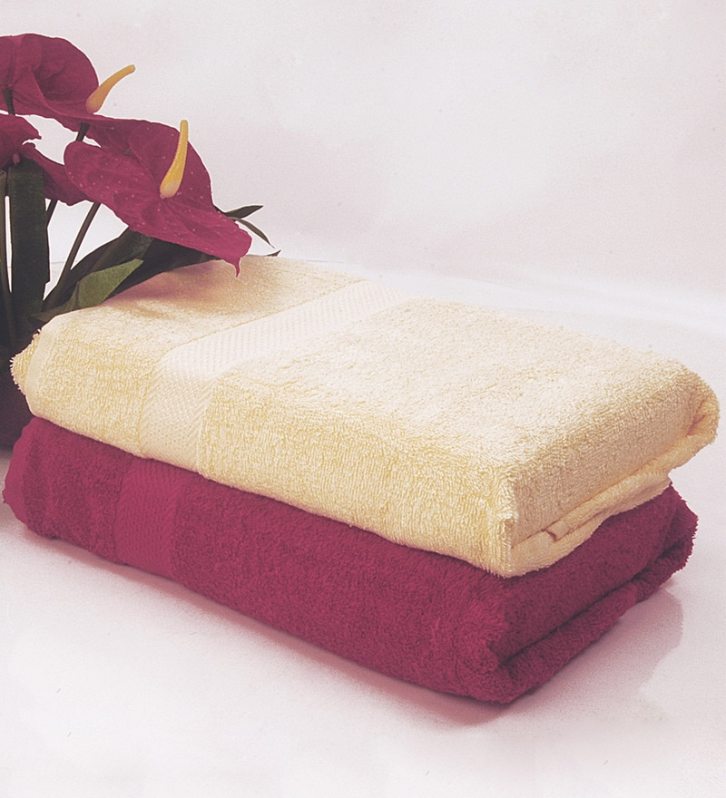 BIANCA Yellow & Burgundy 100% Terry Cotton Bath Towel - Set of 2