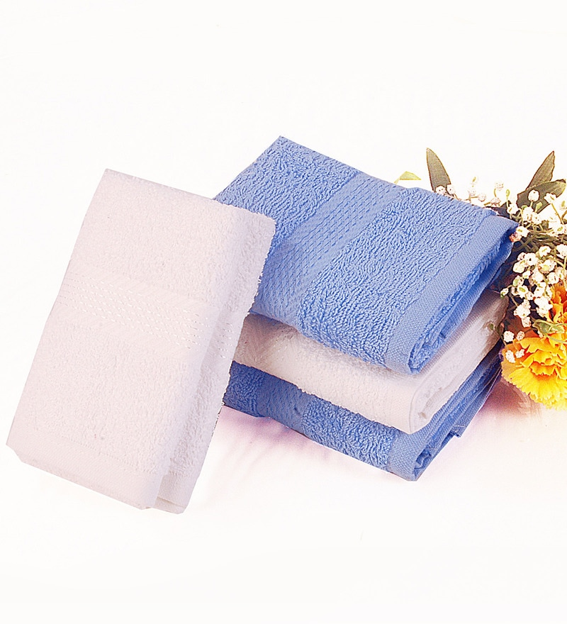 BIANCA Blue & White Cotton Hand Towel - Set of 4