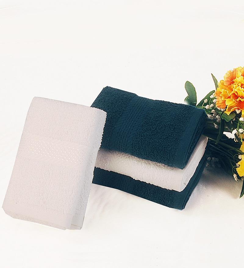 BIANCA Navy & White Cotton Hand Towel - Set of 4
