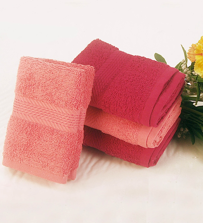 BIANCA Coral & Burgundy Cotton Hand Towel - Set of 4