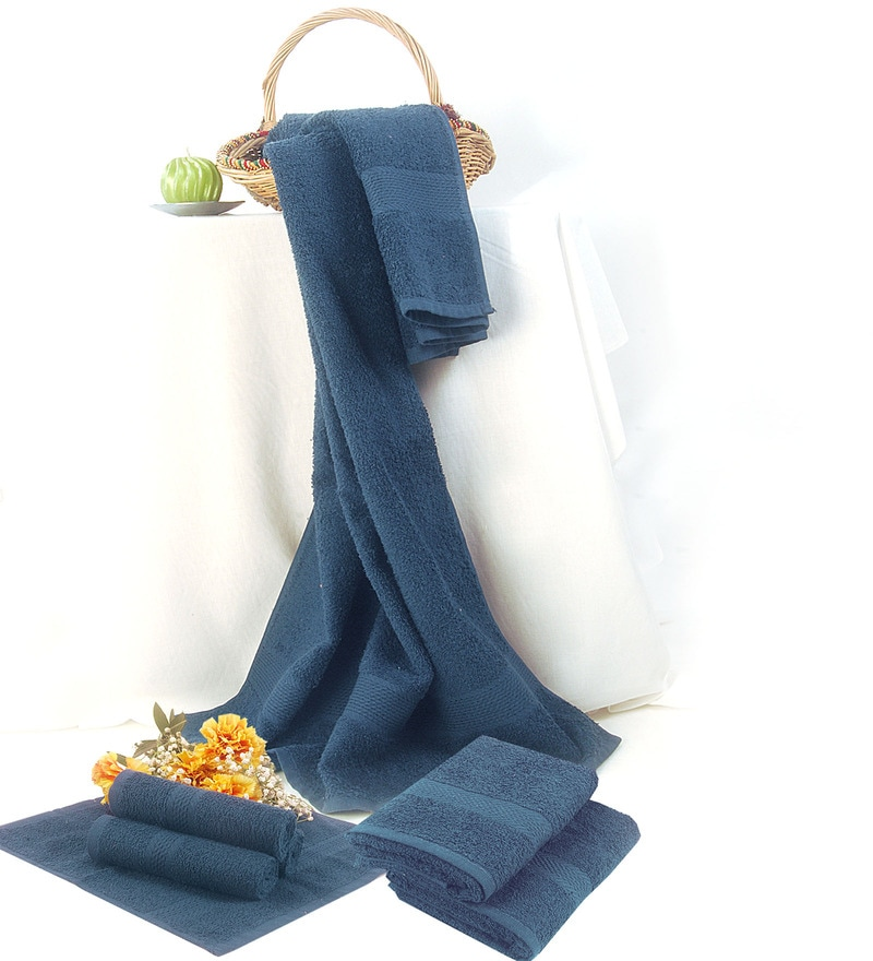 BIANCA Navy Cotton 7-piece Towel Set