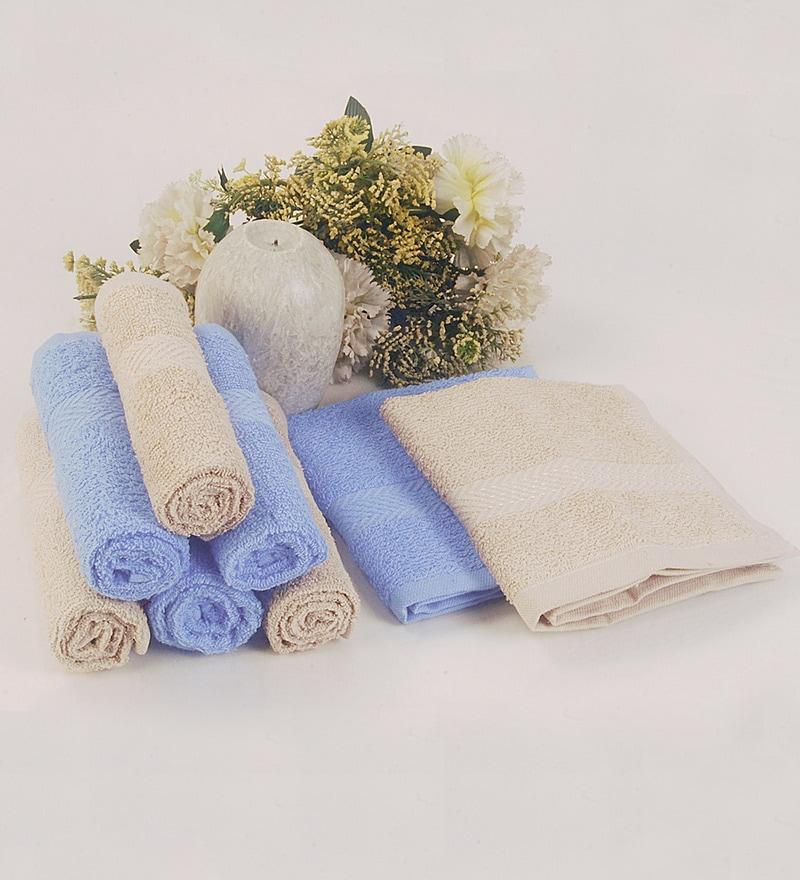 BIANCA Antique & Sky Blue 100% Terry Cotton Face Towel - Set of 8