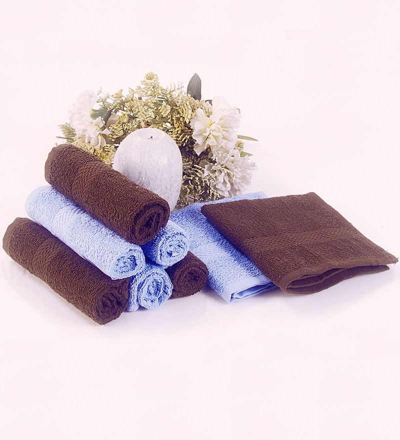 BIANCA Chocolate & Sky Blue 100% Terry Cotton Face Towel - Set of 8