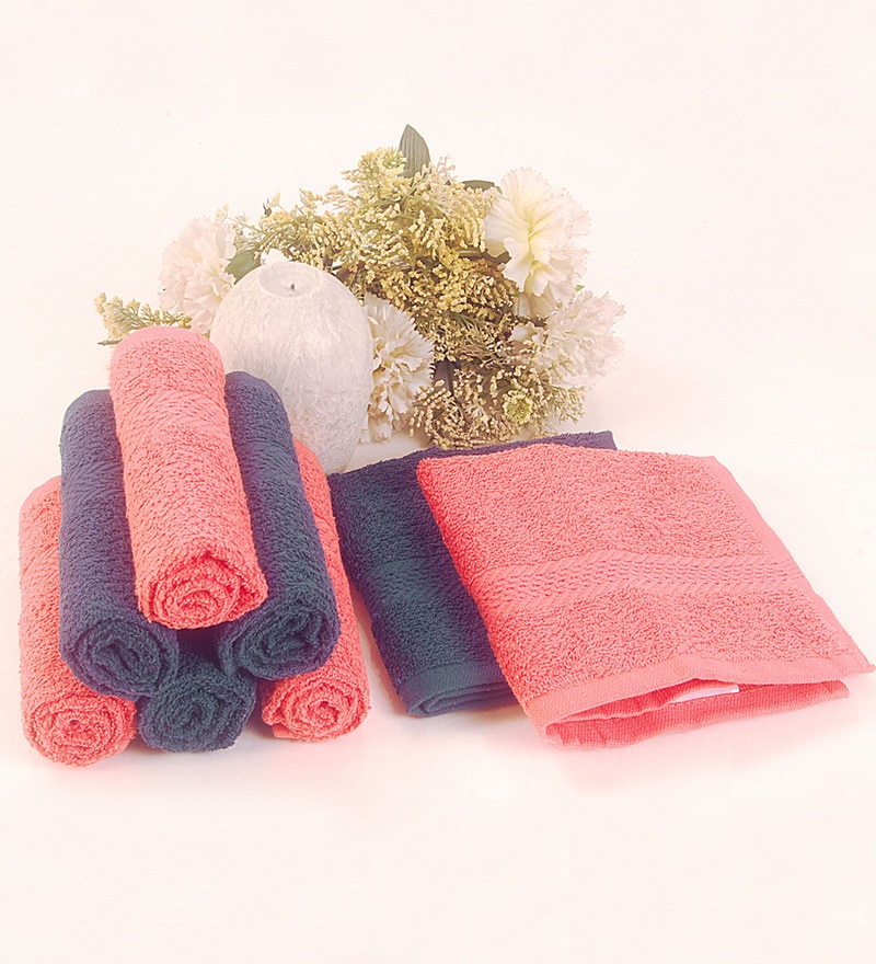 BIANCA Coral & Navy Blue Cotton Face Towel - Set of 8