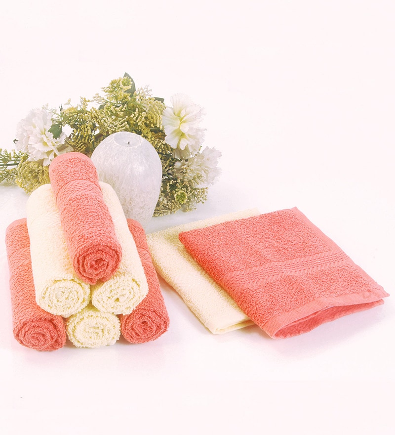 BIANCA Coral & Yellow Cotton Face Towel - Set of 8