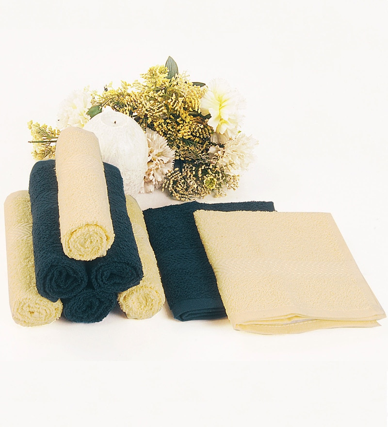 BIANCA Yellow & Navy 100% Terry Cotton Face Towel - Set of 8