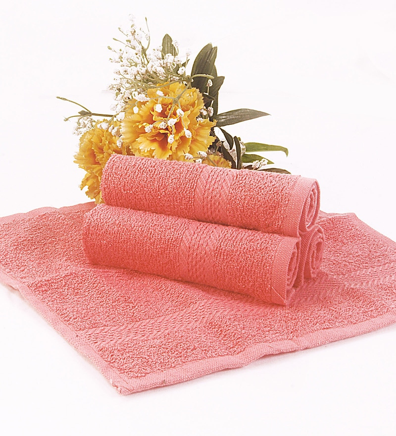 BIANCA Pink Terry Cotton Face Towel - Set of 4