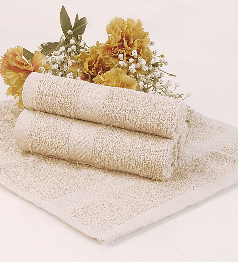 BIANCA Beige Terry Cotton Face Towel - Set of 4