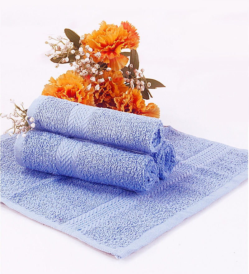 BIANCA Blue Terry Cotton Face Towel - Set of 4