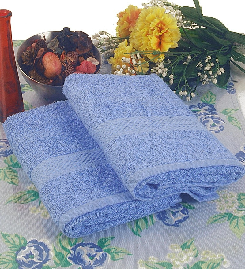BIANCA Sky Blue Terry Cotton Hand Towel - Set of 2
