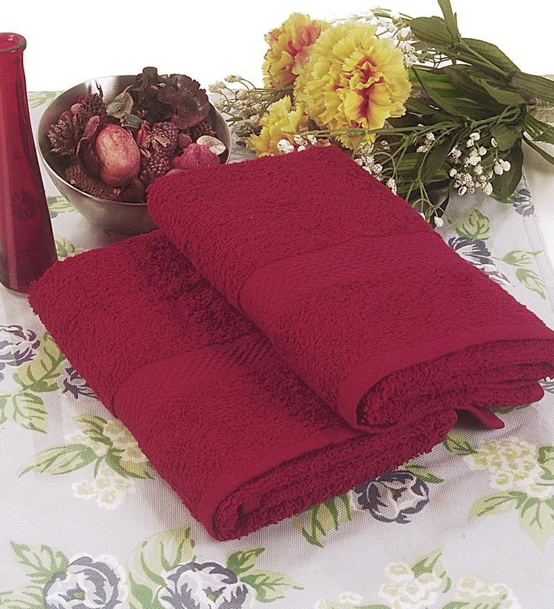 BIANCA Burgundy Terry Cotton Hand Towel - Set of 2