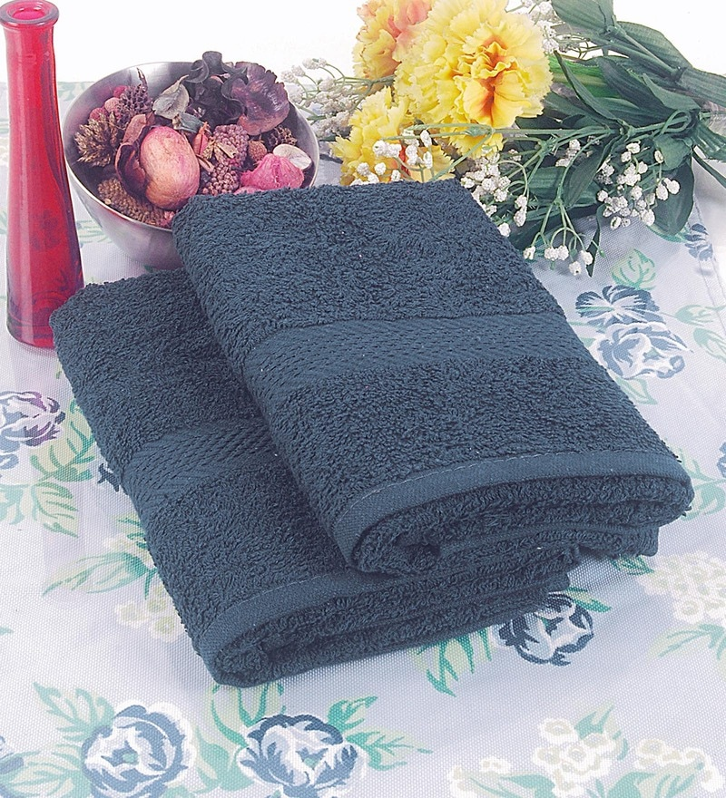 BIANCA Navy Blue Terry Cotton Hand Towel - Set of 2