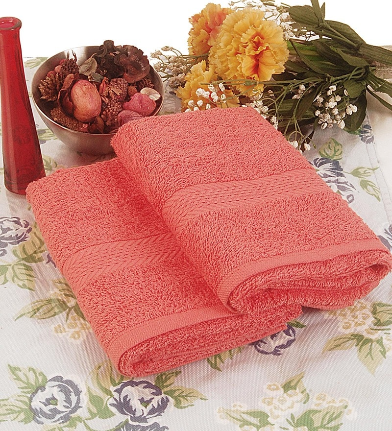 BIANCA Coral Terry Cotton Hand Towel - Set of 2
