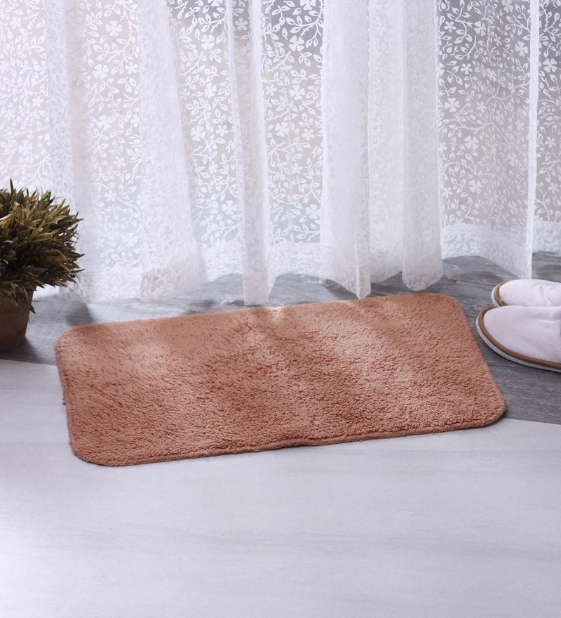 Beige & Brown 100% Cotton 16 X 24 Bath Mat - Set of 2 by BIANCA