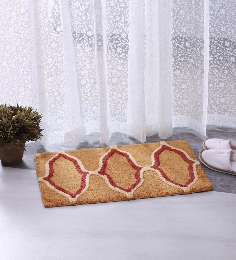 Bianca Beige & Red 100% Cotton 16 X 24 Bath Mat - Set of 2